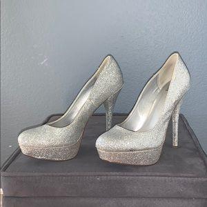 Silver glittered platform heels